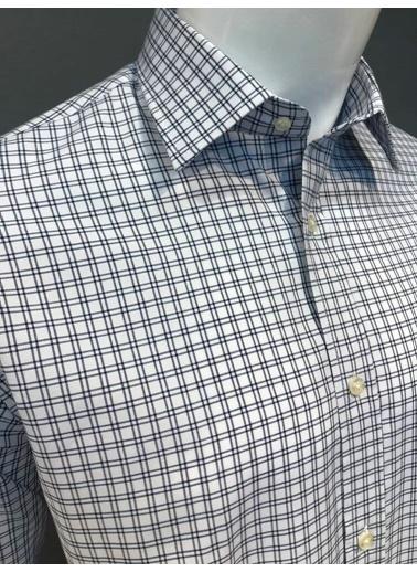 Abbate Kolay Ütülenır Klasık Yaka Ekose Regular Fıt Gömlek Lacivert
